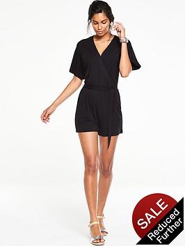 v-by-very-multi-stitch-wrap-playsuit-black