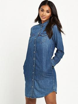 levis-long-sleeve-iconic-western-dress-mid-wash