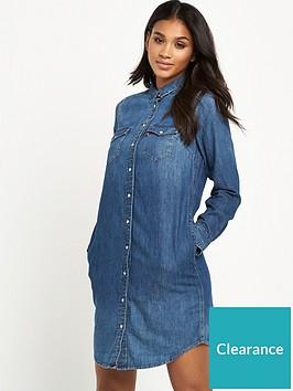 52f5f47585 Levi s Long Sleeve Iconic Western Dress - Mid Wash ...