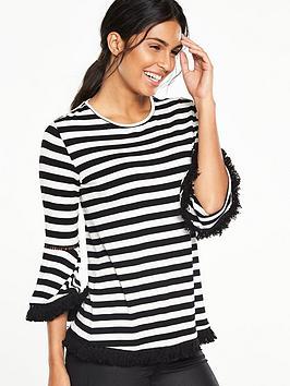 v-by-very-bell-sleeve-fringe-detail-top-blackwhite