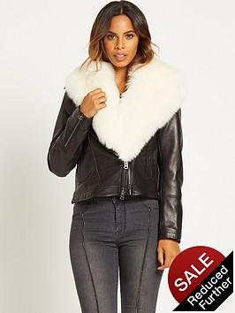 rochelle-humes-faux-fur-collar-leather-biker-jacketnbsp