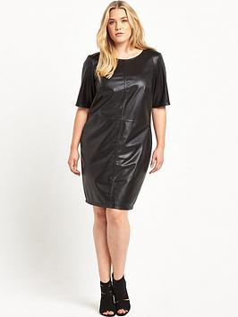 junarose-pu-fitted-dress-black