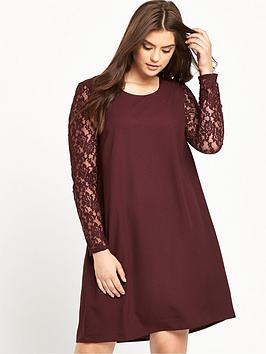 junarose-lace-sleeve-shift-dress-wine