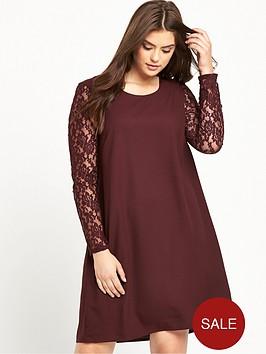 junarose-lace-sleeve-shift-dress-wine