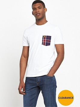 lyle-scott-check-woven-pocket-t-shirt