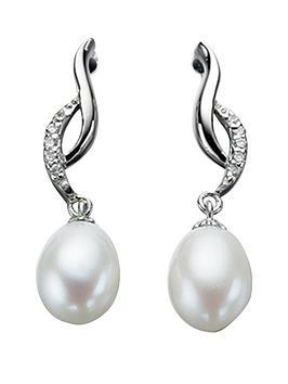 elements-sterling-silver-cubic-zirconianbspand-pearl-twist-earrings