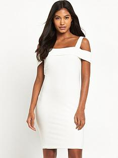 miss-selfridge-cold-shoulder-rib-dress-white