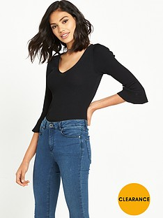 miss-selfridge-flutednbspsleeve-knitted-top