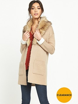 miss-selfridge-fur-collar-coatigan