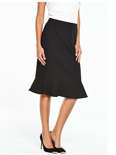 oasis-fluted-hem-spot-pencil-skirt-black