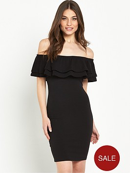 miss-selfridge-double-layer-bardot-dress-black