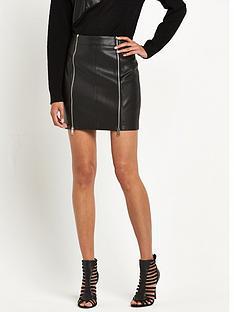 replay-leather-look-zip-front-skirtnbsp