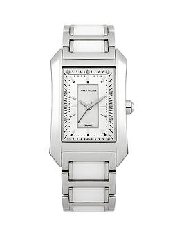 karen-millen-silver-platednbspcrystal-set-square-ladies-watch