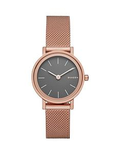 skagen-hald-gunmetal-dial-rose-tone-stainless-steel-mesh-bracelet-ladies-watch