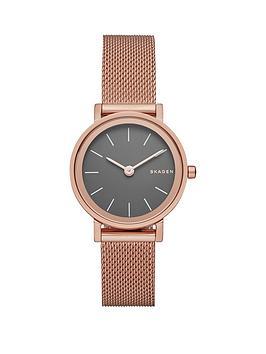 skagen-hald-gunmetal-dial-rose-tone-stainless-steel-mesh-bracelet-ladies-watch