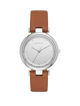 skagen-tanja-white-dial-silver-tone-case-dark-tan-leather-strap-ladies-watch