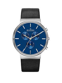 skagen-ancher-blue-dial-silver-tone-case-black-leather-strap-mens-watch
