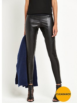 replay-leather-look-skinny-trousers-black
