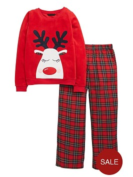 v-by-very-girls-reindeer-tartan-pyjamas