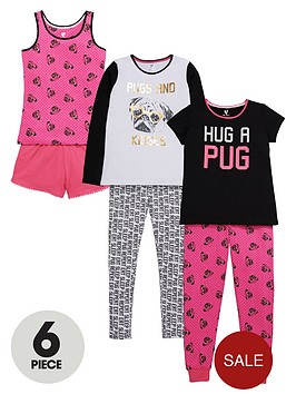 v-by-very-girls-hug-a-pug-pyjamas-set-6-piece