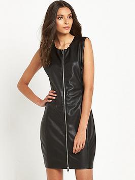 replay-leather-look-zip-through-dress