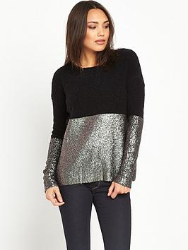 replay-coated-gold-foil-shiny-knit-top