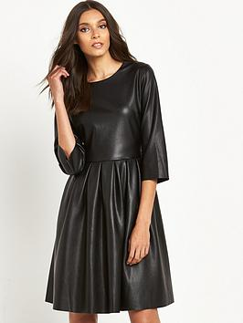 replay-leather-look-midi-skater-dress