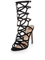Caged Mid Calf Heeled Sandal
