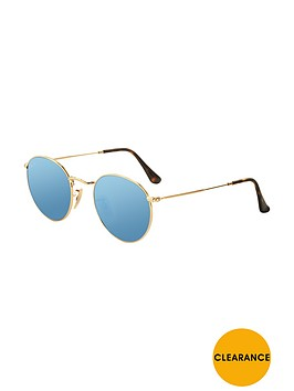 ray-ban-round-flat-lens-sunglasses-gold