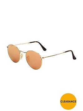 ray-ban-round-flat-lens-sunglasses-rose-goldnbsp