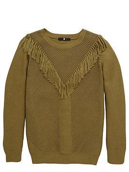 v-by-very-girls-fringe-knitted-jumper