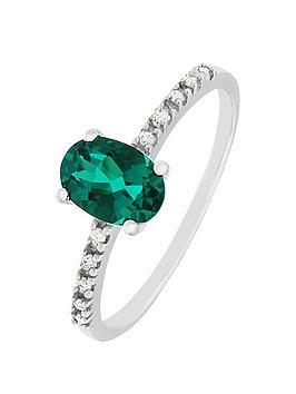 love-diamond-sterling-silver-diamond-set-created-emerald-ring