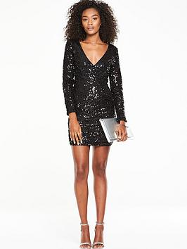 v-by-very-sequin-wrap-front-dress-black