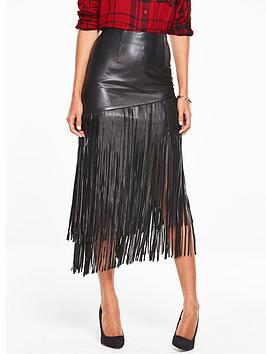 v-by-very-premium-fringed-leather-skirt-black