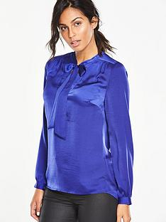 v-by-very-hammered-satin-tie-blouse