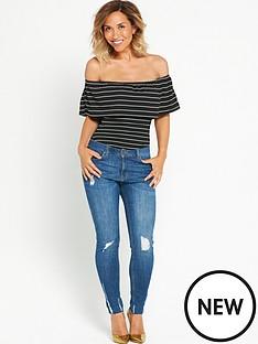 myleene-klass-frill-bardot-stripe-body