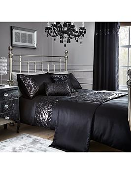 sequin-floral-lace-border-duvet-set-black