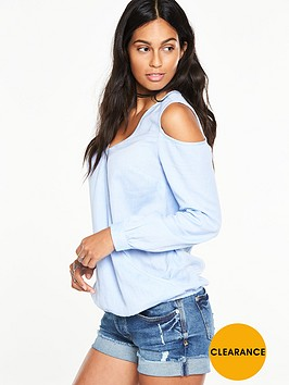 v-by-very-chambray-cold-shoulder-blouse