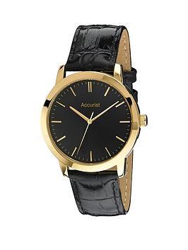 accurist-accurist-black-dial-gold-tone-case-black-leather-strap-mens-watch