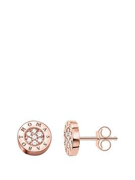 thomas-sabo-sterling-silver-classic-logo-cubic-zirconia-rose-gold-plate-stud-earrings