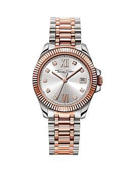thomas-sabo-divine-silver-tone-dial-two-tone-stainless-steel-silver-amp-rose-tone-bracelet-ladies-watchnbspplus-free-diamond-bracelet