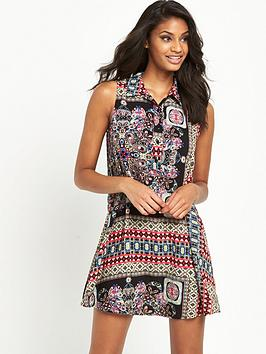 glamorous-sleeveless-printed-shirt-dress