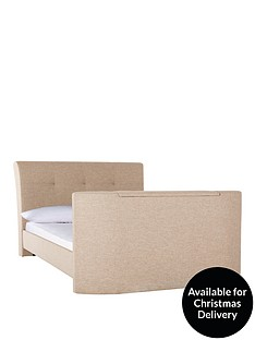 harrogate-fabric-double-tv-bed-frame-with-optional-mattress