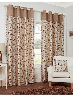 Leaf Trail Flock Lined Eyelet Curtains