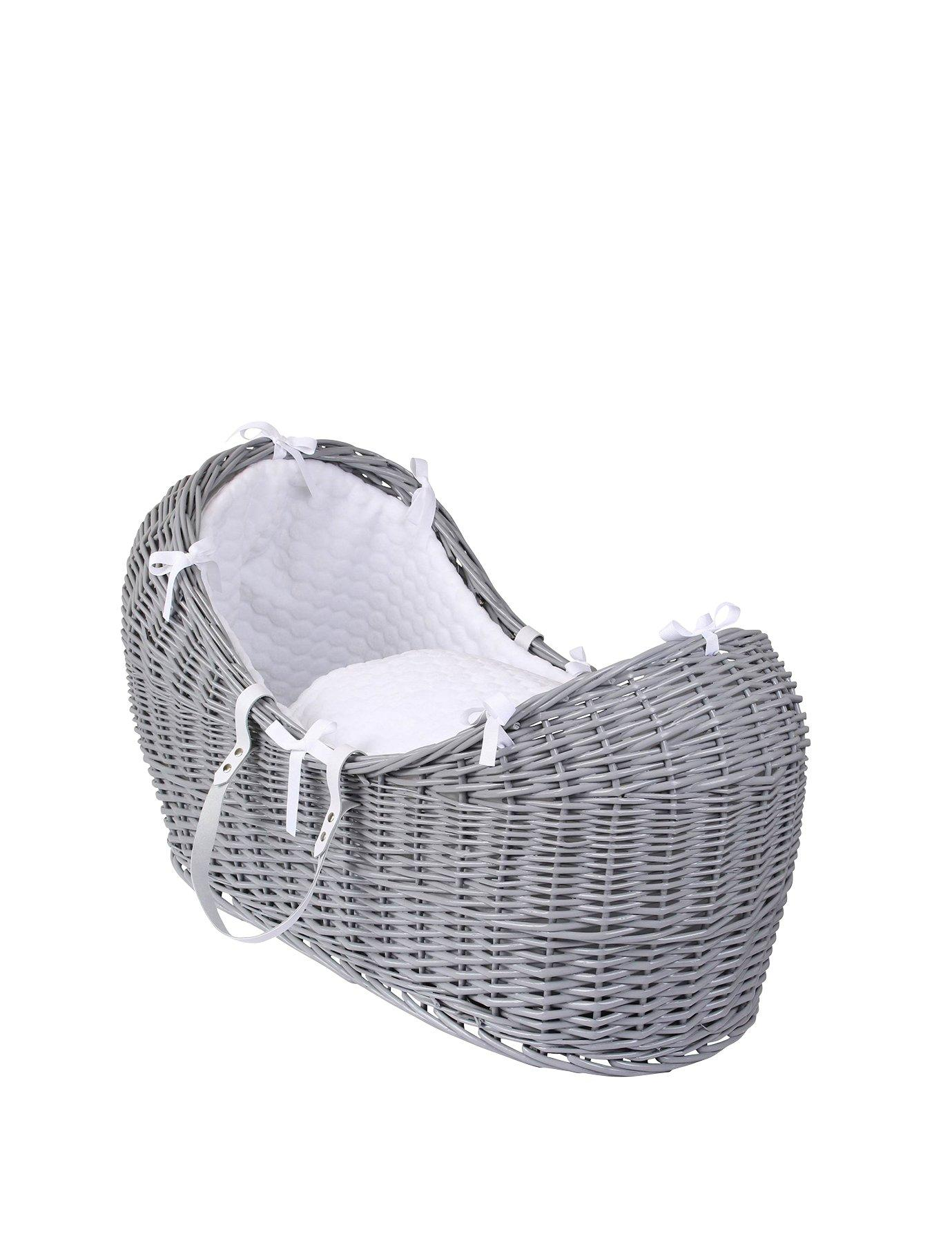 WHITE MARSHMELLOW FLEECE SNUG POD,NOAH BASKET DRESSING SET.GREY BLUE DIMPLE