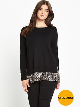 v-by-very-curve-leopard-chiffon-insert-fine-gauge-jumper