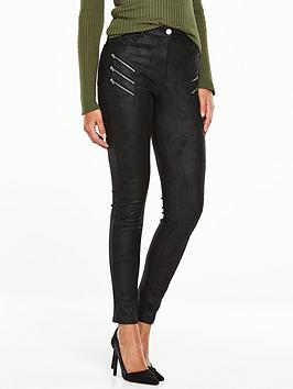 v-by-very-multi-zip-supersoft-textured-biker-jean-black