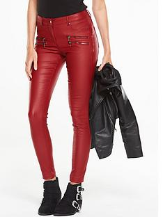 v-by-very-multi-zip-coated-biker-jean-red