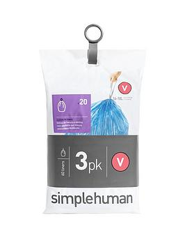 simplehuman-3-packs-of-20-bin-liners-60-liners-total-ndash-code-v