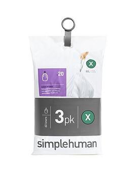 simplehuman-3-packs-of-20-bin-liners-60-liners-total-ndash-code-x